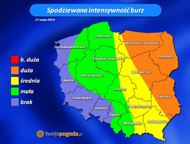 intensywność burz w dniu 17 maja 2014. Opracowanie: TwojaPogoda.pl
